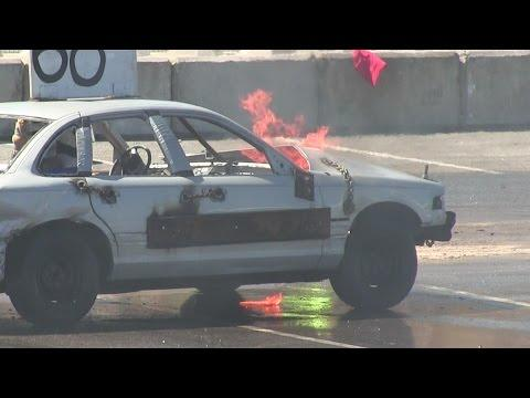 Demo Derby Ends Up With Fire,Big Cars Crazy Demolition Derby